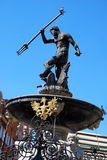 Neptune fountain with pigeon on the trident  in Gdansk Royalty Free Stock Photo