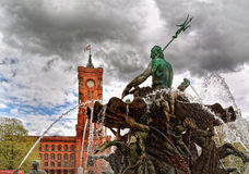 Neptune fountain and Rotes Rathaus, Berlin, Germany Royalty Free Stock Images