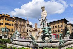 Neptune fountain on Signoria square, Florence, Italy stock photo