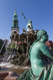 Neptune fountain and St. Mary Church in Berlin Royalty Free Stock Photos