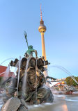 Neptune fountain and the TV Tower Stock Photo