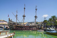 The Neptune Galleon in Genoa , Italy stock images