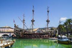 The Neptune Galleon in Genoa , Italy. The Neptune Galleon built for Roman Polanski's film Pirates, in the old port of Genoa, Italy stock image