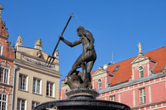 Neptune God of The Sea Fountain in Gdansk Stock Images