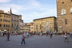Neptune i inne statuy na kwadracie Signora (piazza della Sig Zdjęcie Royalty Free