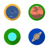 Neptune, Mars, Saturn, Uranus of the Solar System. Planets set collection icons in flat style vector symbol stock Royalty Free Stock Photos