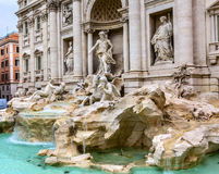 Neptune Nymphs Statues Trevi Fountain Rome Italy. Neptune Nymphs Seahorses Statues Trevi Fountain Rome Italy.  Nicola Salvi created the fountain and was Royalty Free Stock Images