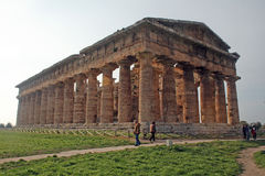 Neptune paestum italy. The ancient greek temple of neptune at paestum in south italy Royalty Free Stock Images