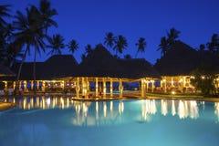 Neptune Paradise Beach Resort & Spa Hotel in Kenya. GALU - KINONDO BEACH, KENYA -  FEBRUARY 26, 2018: Neptune Paradise Beach Resort & Spa Hotel view in the night Royalty Free Stock Photos