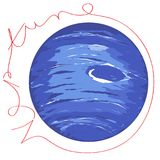 Neptune planet doodle with text Royalty Free Stock Photos