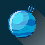 Neptune planet icon. Neptune planet icon with long shadow. Space view and texture map of  the globe Neptune. Vector illustration in flat style Stock Images