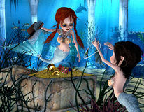 Neptune's daughters. 3d render of two mermaids, who enjoy a treasure as illustration in the comic style Royalty Free Stock Image