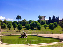 Neptune's fountain and Forte Belvedere, Florence Stock Photos