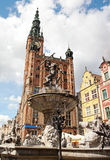 Neptune's Fountain in Gdansk, Poland Stock Photography