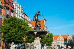 Neptune's Fountain in Gdansk Stock Images