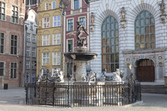 Neptune's Fountain in Gdansk, Poland. Neptune's Fountain, bronze statue of the Roman God of the sea in Gdansk, Poland Royalty Free Stock Image