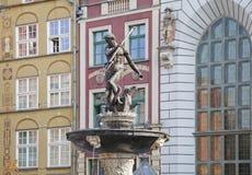 Neptune's Fountain in Gdansk, Poland. Neptune's Fountain, bronze statue of the Roman God of the sea in Gdansk, Poland Stock Photo