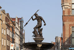 Neptune's Fountain in Gdansk, Poland Stock Photos