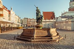 Neptune`s Fountain in Poznan Stock Photos