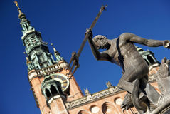 Neptune's Fountain. With Town Hall in the background, Gdansk, Poland Stock Images