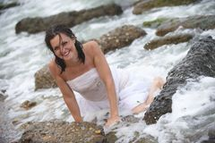 Neptune's mermaid bride, happy beautiful woman Royalty Free Stock Image