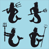 Neptune Silhouettes royalty free illustration
