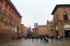 Neptune Square in Bologna, Italy. Neptune Square (Piazza del Nettuno) in the New Year time, January 2, 2015, Bologna, Italy. Popular touristic european royalty free stock photo