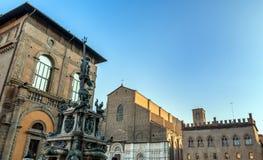 Neptune Statue and Basilica di San Petronio in Bologna, Italy Stock Photography