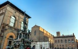 Neptune Statue and Basilica di San Petronio in Bologna, Italy Stock Images