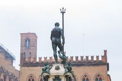 Neptune statue in Bologna. Bologna Italy 13th January 2018 - The statue of Neptune on the fountain in Piazza del Nettuno royalty free stock photos