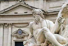 Neptune statue and the building of the church Sant'Agnese in Agone, Rome Stock Photography