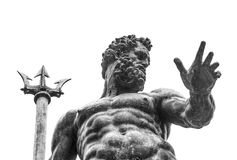 Neptune statue in firenze square. Artistic sculpture of Neptune statue, photographed in black and white Stock Photo