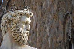 Neptune statue in Florence. Neptune looks towards the Piazza della Signora in Florence, Italy Stock Images