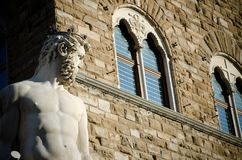 Neptune Profile, Florence. The Neptune statue in Florence, situated on the Piazza della Signoria, sculptor Bartolomeo Ammannati 1563-1565 Royalty Free Stock Photos
