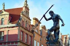 Neptune statue in Gdansk stock photo
