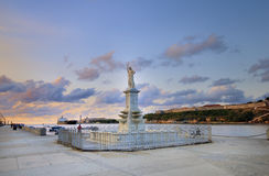 Neptune statue in havana bay entrance. Against sunset sky Royalty Free Stock Image