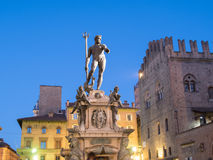 Neptune Statue at Night in Bologna, Italy Royalty Free Stock Image