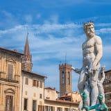 Neptune statue in Piazza della Signoria - Florence, Italy. FLORENCE, ITALY - March 21, 2014: famous Neptune statue by Bartolomeo Ammannati in Piazza della Royalty Free Stock Photography