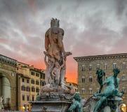 Neptune statue in Piazza della Signoria, Florence stock images
