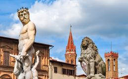 Neptune statue on Signoria square, Florence, Italy stock images