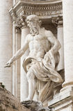 Neptune statue of Trevi Fountain (Fontana di Trevi)  in Rome Royalty Free Stock Photo