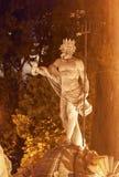 Neptune statuy fontanny noc Madryt Hiszpania Obraz Royalty Free