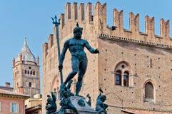 Neptune staty i bolognaen, Italien Arkivbild