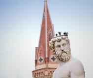 Neptune staty med klockatornet Fotografering för Bildbyråer