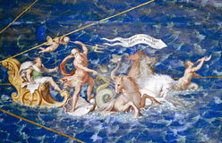 Neptune - Vatican Museums. Triumph of Neptune and Christopher Columbus, fresco in Gallery of Maps, Vatican Museums.  Neptune with a trident is riding a quadriga Royalty Free Stock Photo