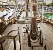Neptungaljoen in Genoa Porto Antico stock foto