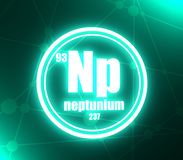 Neptunium chemical element. Sign with atomic number and atomic weight. Chemical element of periodic table. Molecule and communication background. Connected stock illustration