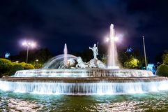 Neptuno fountain in Madrid Stock Images
