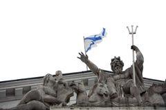 Neptuno y la bandera de St Andrew Foto de archivo libre de regalías