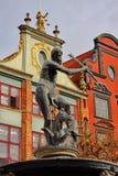 Neptunspringbrunn, Gdansk Polen Arkivbild